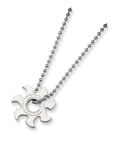 Stainless Steel Sun Burst Necklace - 22 Inch - JewelryWeb