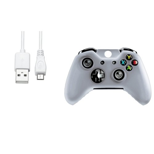 CommonByte White Controller Silionce Case+6FT White Micro USB Cable For Xbox One 50pcs new for snes controller extension cable for super nintendo for fami com consoles 6ft