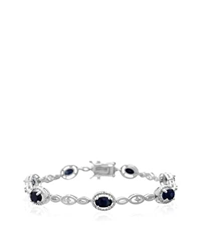 Adoriana 4 1/2 Carat Oval Shape Sapphire & Halo Diamond Bracelet, Platinum Overlay