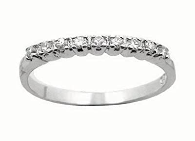 Eternity Ring - Half CZ Diamond Eternity Ring Style - Half Eternity White Gold Look Sterling Silver - Sizes J - T Available