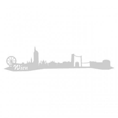 Wandtattoo Wien Skyline Wandaufkleber viele Farben und Größen sofort lieferbar in 8 Größen und 25 Farben (30x6,7cm silbermetalleffekt)