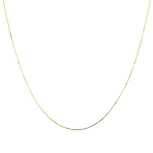 """Duragold 14k Yellow Gold Solid Box Chain Necklace (.45mm), 18"""""""