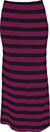 PacificPlex Womens Plus Size Striped Maxi Tube Skirt
