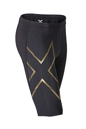 2 x U - Pantaloncini da uomo Mens Elite MCS Compression [Perform], Uomo, Mens Elite MCS Compression Shorts [PERFORM], Blk/Gld, S