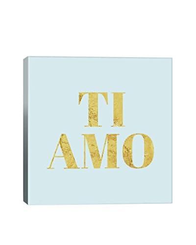 Love International Ti Amo Yellow On Light Blue Gallery Wrapped Canvas Print
