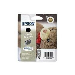 Epson T0611 - Print cartridge - 1 x pigmented black - 250 pages - blister with RF alarm