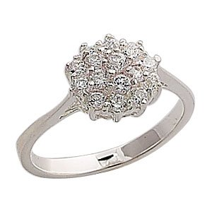 Sterling Silver Cluster Ring - Size P