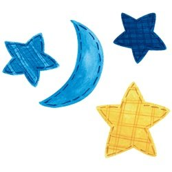 Wallies Baby Celestial Stars, Moon Wall Cutouts Decor
