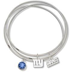 NFL Officially Licensed Blue Crystal New York Giants Bangle Bracelet Set