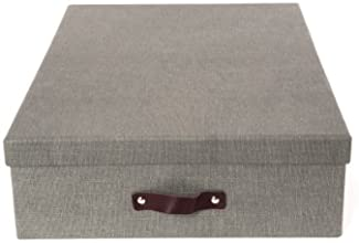 Bigso Jakob Canvas Paper Laminate Box with 12 Dividers Grey