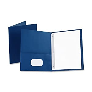 Oxford Twin Pocket Folders with Fasteners, Letter Size, Blue, 25 per Box (57702)