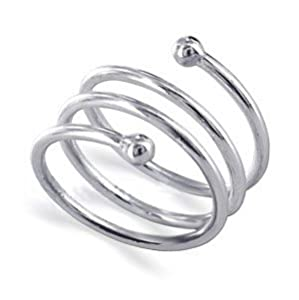 LWRS005-7 Sterling Silver 10mm Wide Dazzling Spiral Band Polished Finish Ring Size 7