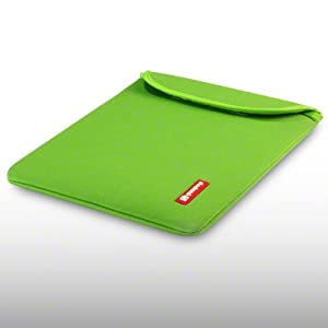 IPAD 3 NEOPRENE CARRY CASE WITH SHOCKSOCK LOGO BY CELLAPOD CASES GREEN