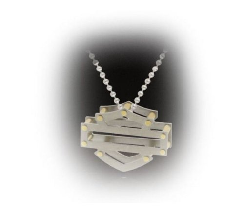 Harley-Davidson® Women's Stamper Pendant Necklace. 3-D Titanium. Silhouette Bar & Shield. TN1S