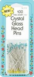 Dritz Crystal Glass Head Pins Size 30 100/Pkg C110; 2 Items/Order