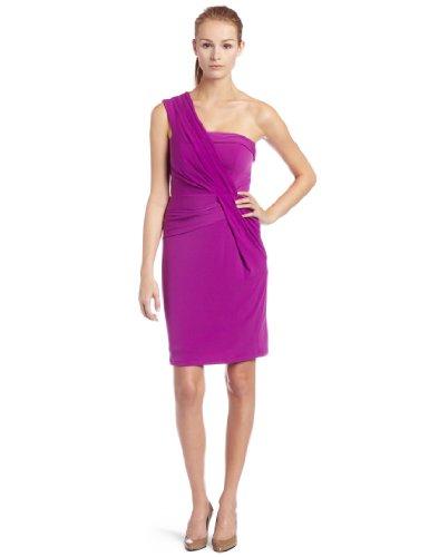 Maxandcleo Women's One Shoulder Pleated Jean Dress, Viola, 8