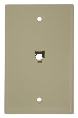 Leviton 40238-I Standard Telephone Wall Jack, 6P6C, Screw Terminals, Ivory