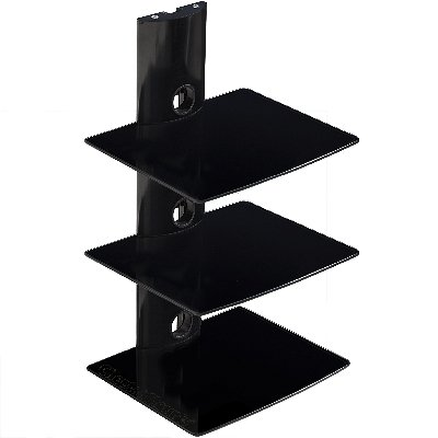 Cheetah Mounts AS3B 3 Component Shelf Wall Mount Bracket for LCD, LED, Plasma TV Components