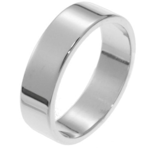 10K White Gold, Flat Style 6MM Wedding Band (sz 9)