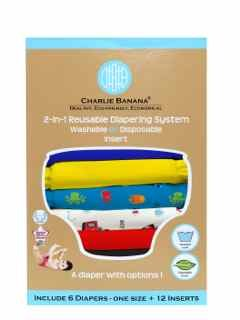 Charlie Banana 2-in-1 Reusable Diapering System, 6 Diapers plus 12 Inserts, Under the Sea, One-Size - 1