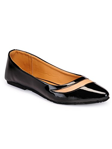 Faux Leather/ Synthetic Black/Beige Sandal Flat