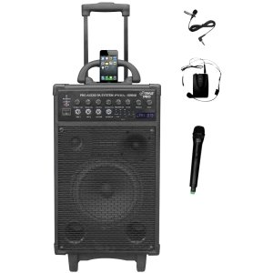 Pylepro 800 Watt Dual Channel Wireless Rechageable Portable Pa System With Ipod/Iphone Dock, Fm Ra -