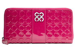 Coach Julia Signature Op Art Patent Leather Zip Around Wallet Hot Pink