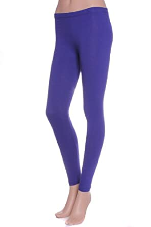 Active Basic Womens Plain Cotton Blend 26 IN Leggings,Small,Royal