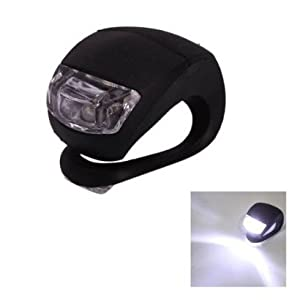 SODIAL(TM) Waterproof Double White LED Light with Black Silicone for Bicycle