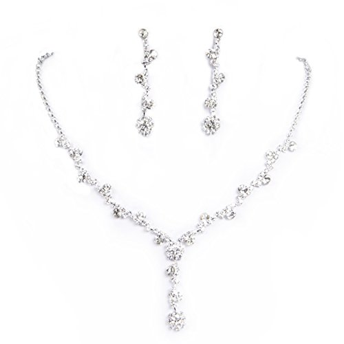 Clearbridal Women Rhinestones Necklace Earrings