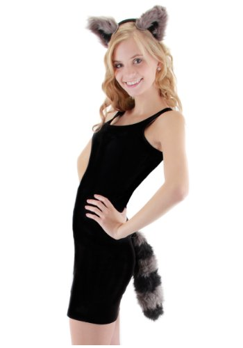 Adult or Child's Raccoon Ear & Tail Costume Set