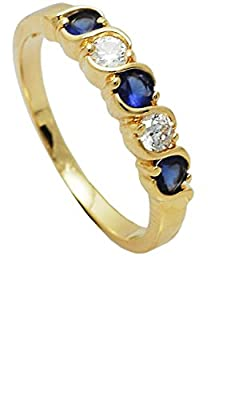 Simply Glamorous Jewellery-18ct Gold Filled Half Eternity Ring Blue Sapphire