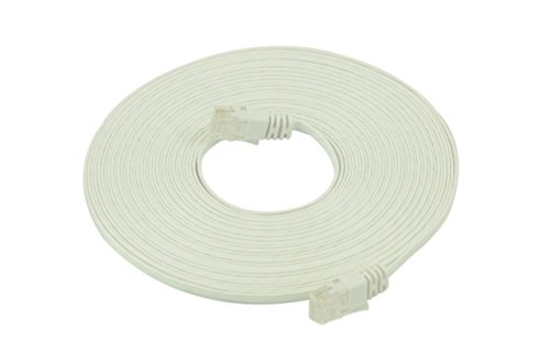 Optimus Electric 33 Feet Cat6 Ultraflat Cable With Wave Jacket - White