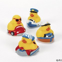 One Dozen (12 pc) Transportation Rubber Ducks