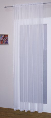 Matching Bedrooms Faux Silk Voile Net Slot Top / Rod Pocket Curtain Panel White 59 x 90 Inches