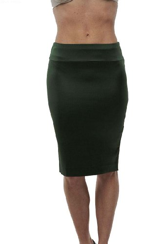 Roberto Cavalli - Pencil Silk Skirt Green, 38, Green Image
