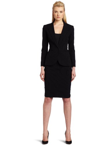 KAMALIKULTURE Women's Single Breasted Blazer, Black Pinstripe, 4