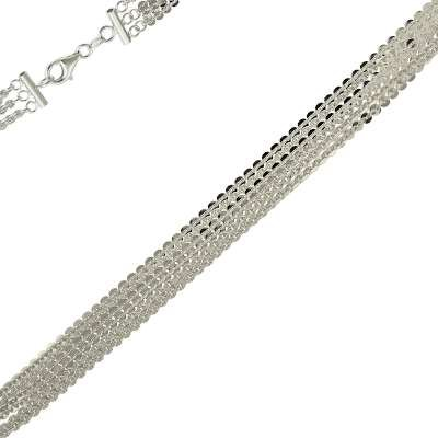 Classic Design Sterling 925 Silver Link Bracelet 3 Double Polished Strands Chain Sequin Style(WoW !With Purchase Over $50 Receive A Marcrame Bracelet Free)