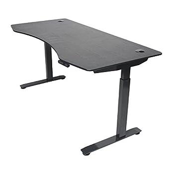 "ApexDesk Elite Series 60"" W Electric Height Adjustable Standing Desk (Memory Controller, 60"" Top in Black, Black Frame)"