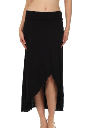 Sakkas 0326 Soft Jersey Feel Solid Color Strapless High Low Dress / Skirt - Black/Large