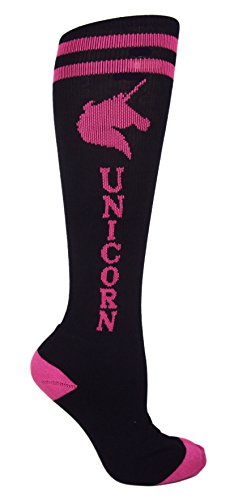 MOXY Socks ** Black with Pink Unicorn! ** Women's Knee-High Fitness Socks