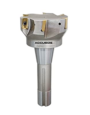"""Accusize Tools - 3"""" x 6-1/4"""" 90 Degree R8 Shank Indexable End Mills with 6 ps APKT1604 carbide Inserts installed, #0028-6908"""
