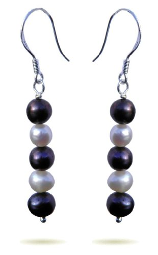 Handmade 925 Sterling Silver , Tahitian and White Pearl Earrings FREE Delivery in UK - Gift Wrapped