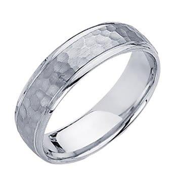 *** LASER ENGRAVING SERVICE *** 14K White Gold 5.5mm Comfort Fit Hammered Finish Designer Wedding Band Ring for Men & Women [DETAIL INFORMATION - PLEASE CLICK AND CHECK THE ITEM DESCRIPTION] - size 7.5