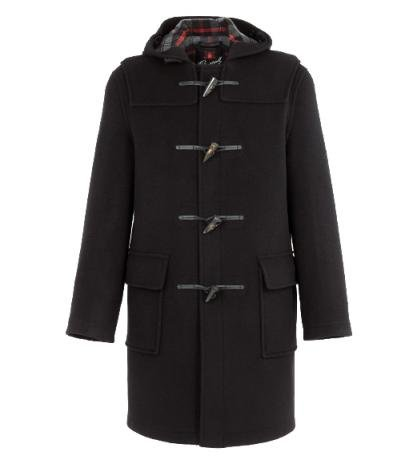 Mens Classic Wool Duffle Coat, Charcoal Grey 46