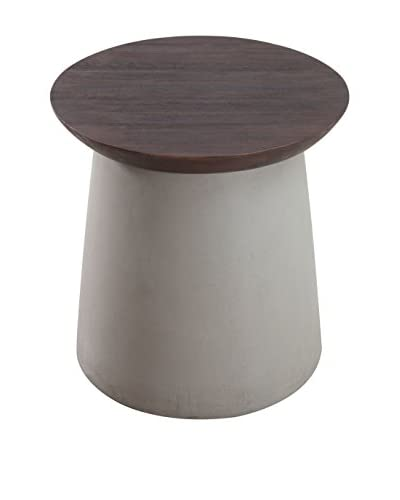 Zuo Modern Henge Side Table, Cement/Walnut As You See