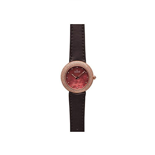 Charmex Las Vegas 6298 35mm Stainless Steel Case Brown Calfskin Synthetic Sapphire Women's Watch