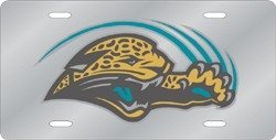Jacksonville Jaguars Laser Cut Silver License Plate by Hall of Fame Memorabilia