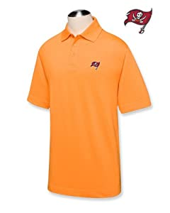 Tampa Bay Buccaneers Mens Drytec Championship Polo Orange by Cutter & Buck