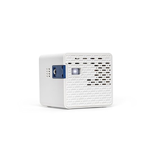 AAXA HD Pico LED Projector with 150-Minute Rechargeable Battery, 1280 x 720p HD Native Resolution, Portable Mini Cube Design, 20,000 Hour LEDs with Onboard Media Player